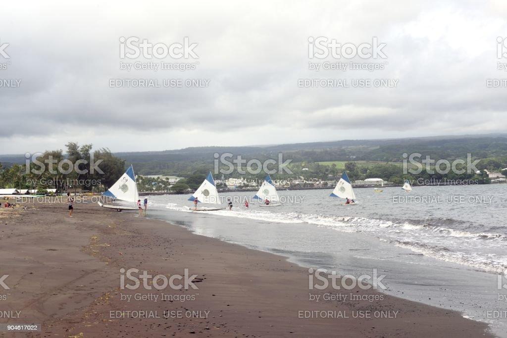 Sailing at Bayfront Park Hilo stock photo