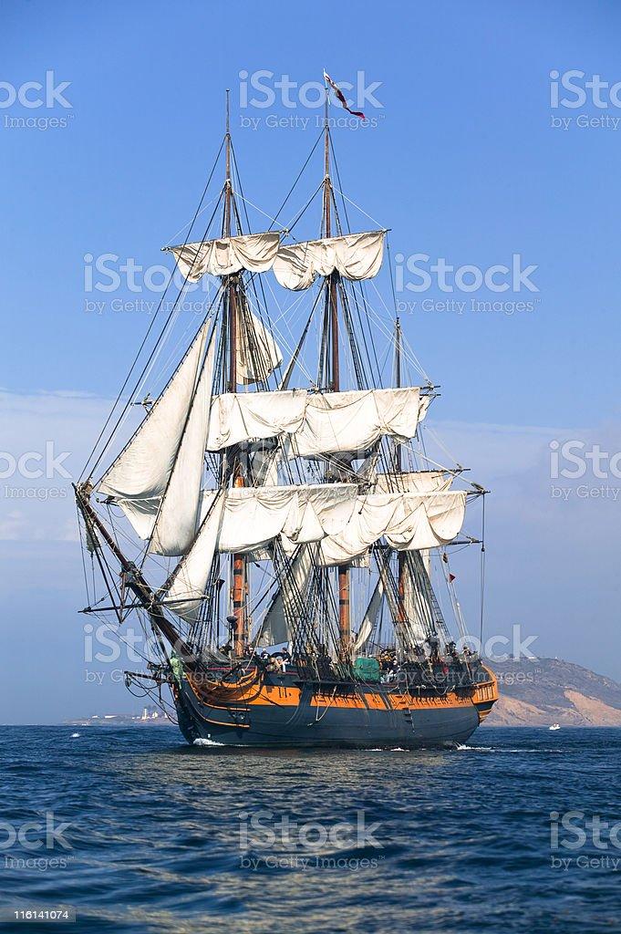 Sailing at sea under full sail royalty-free stock photo