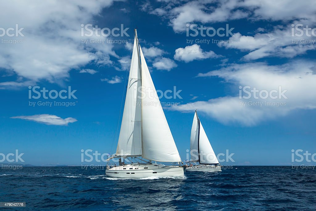 Sailing at the Aegean Sea in Greece. Sailing regatta. stock photo