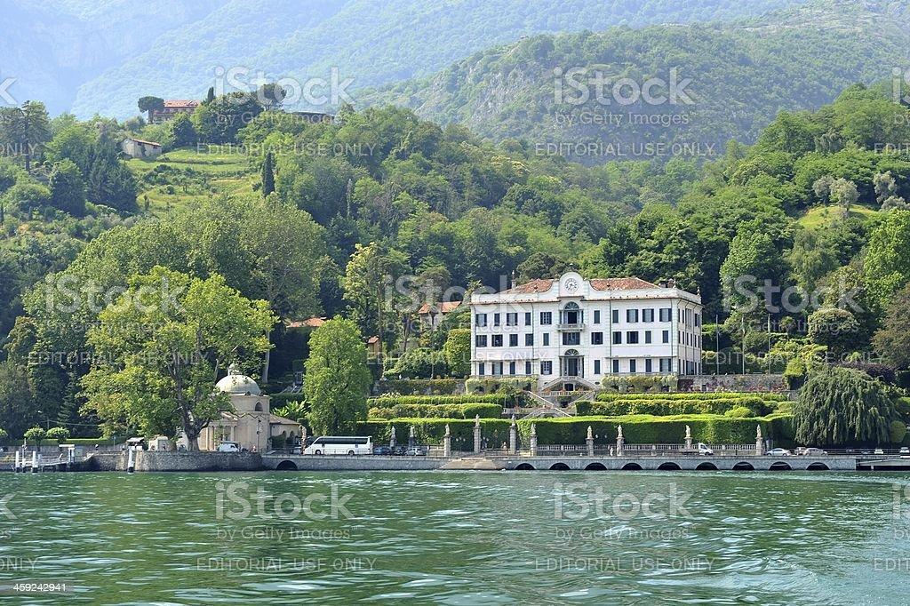 Sailing away from Villa Carlotta stock photo