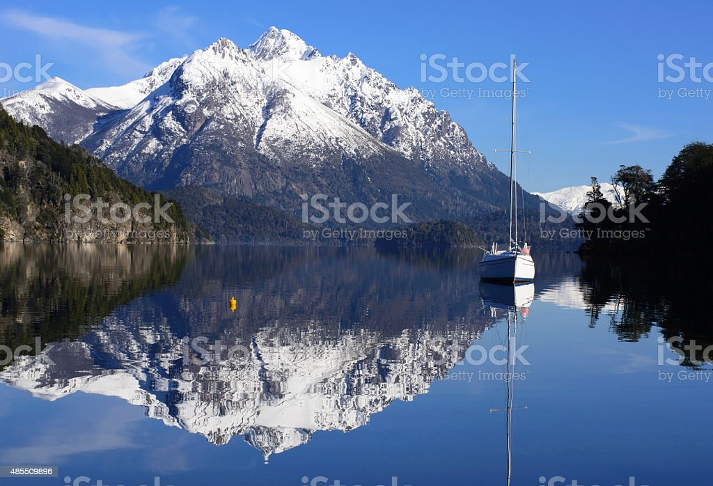 Sailing Between the Mountains of Patagonia stock photo