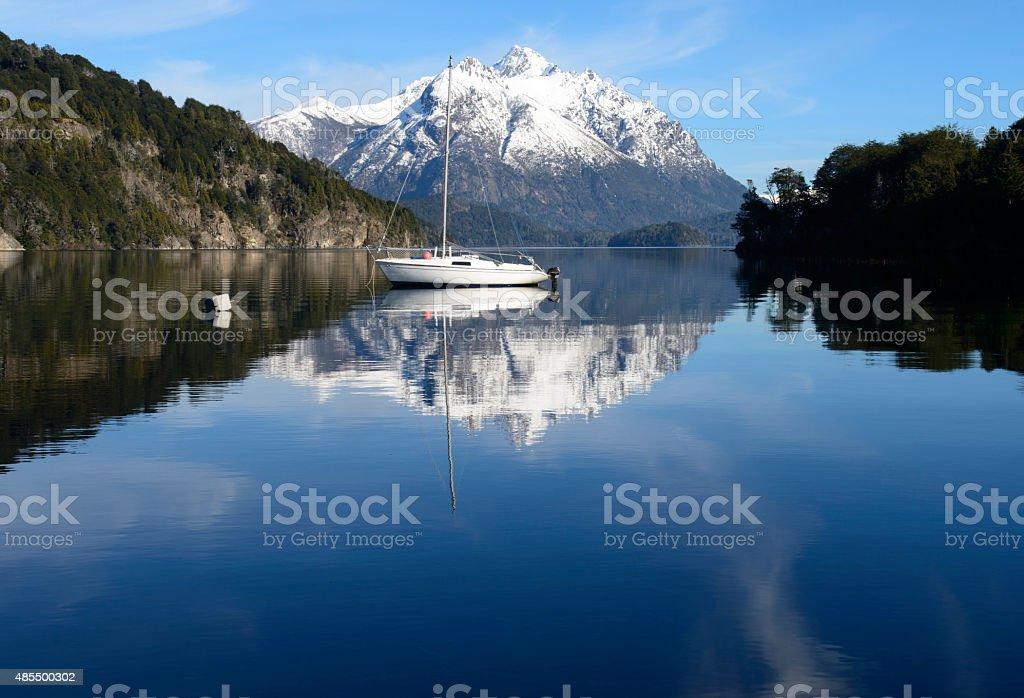 Sailing Between the Mountains of San Carlos de Bariloche stock photo