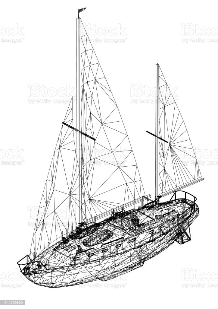Sailing boat 3d blueprint isolated stock photo more pictures of concepts topics construction industry industry nautical vessel paper sailing boat 3d blueprint malvernweather Images