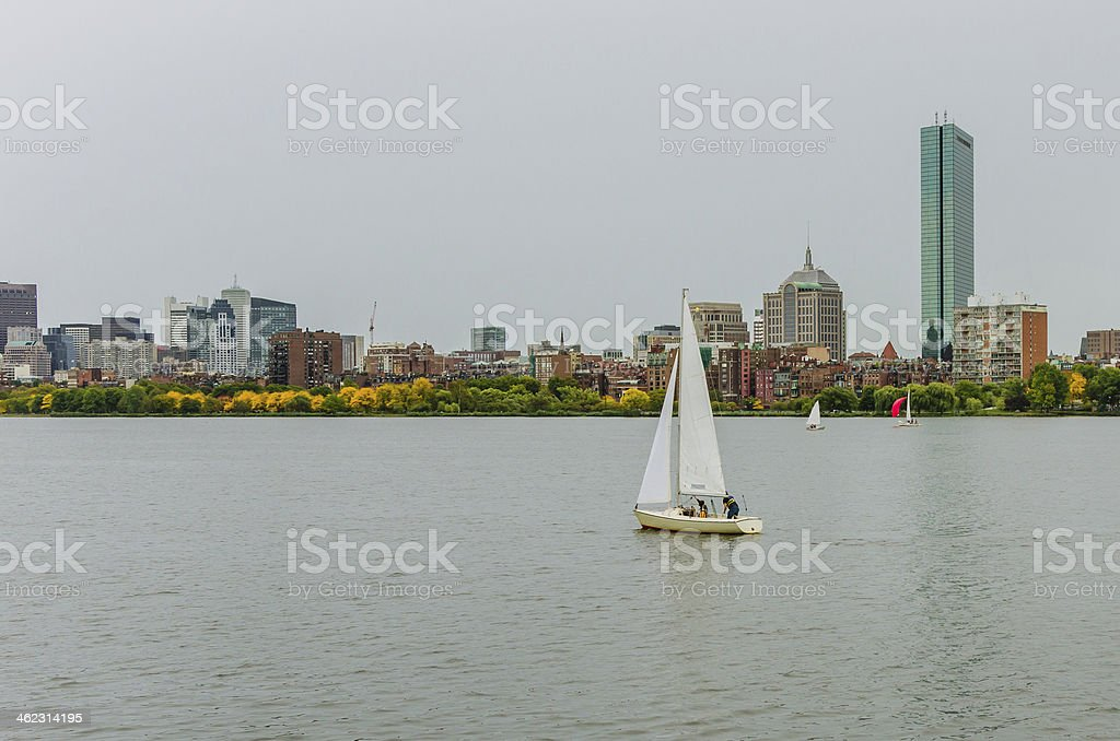 Sailing Boat and Boston Skyline royalty-free stock photo