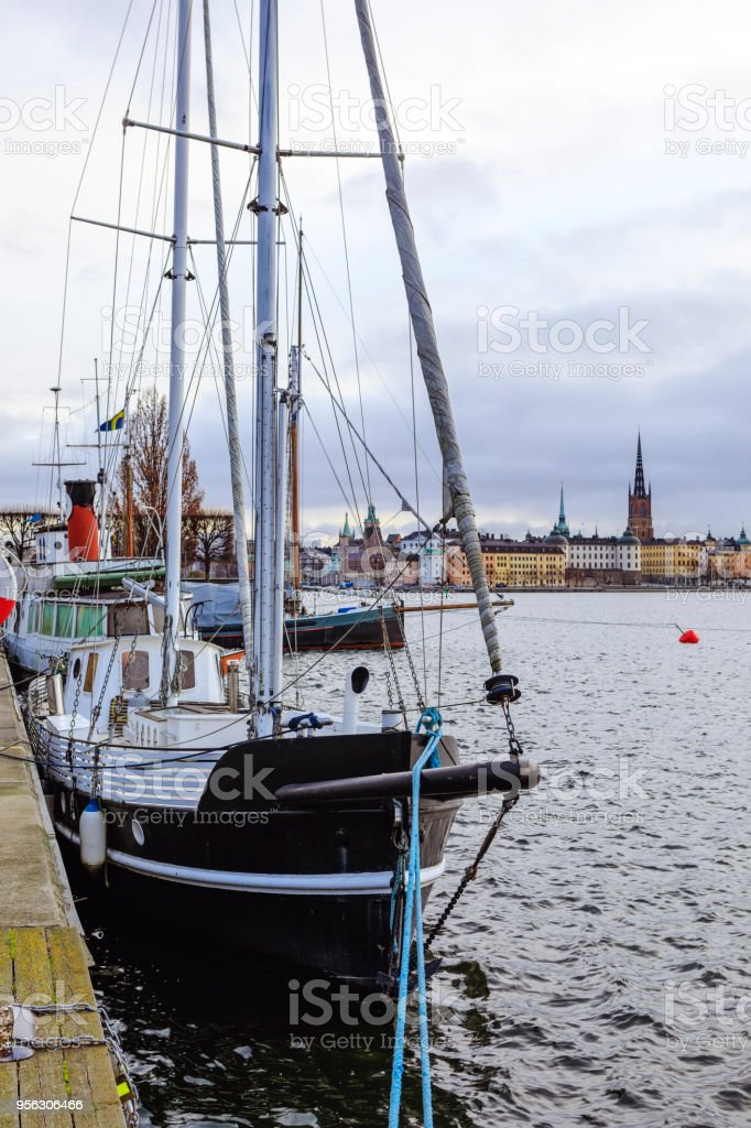 Sailing boat at anchor in central Stockholm stock photo