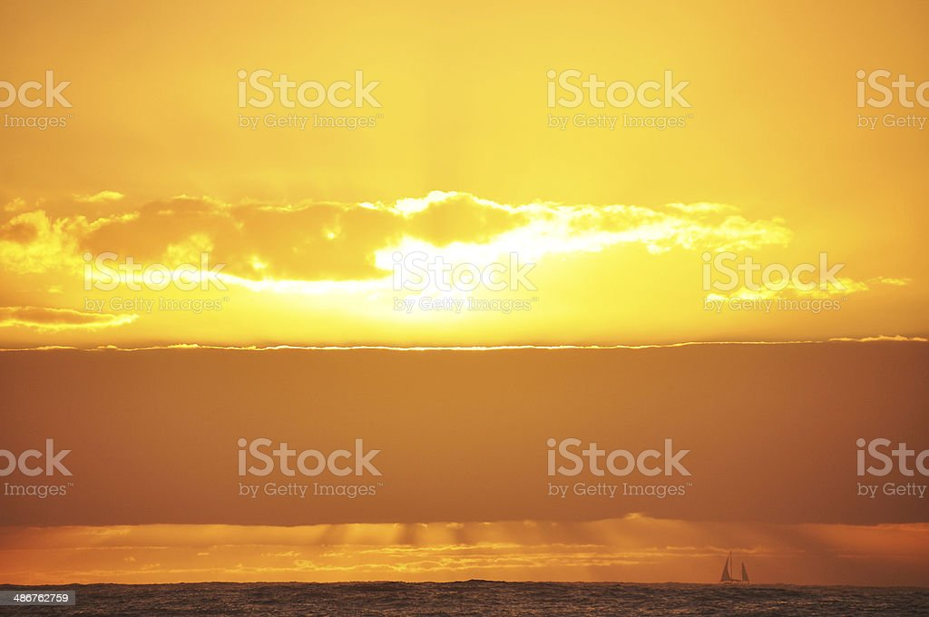 Sailing boat at Sunrise royalty-free stock photo