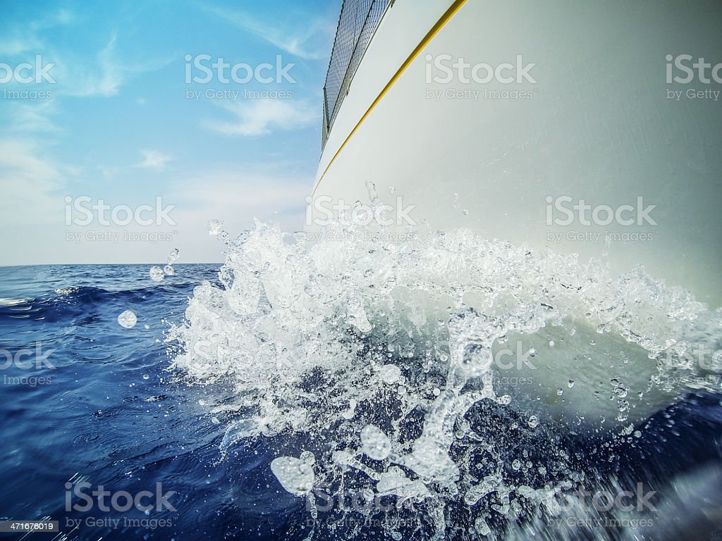 Sailing Boat bow during cruise stock photo