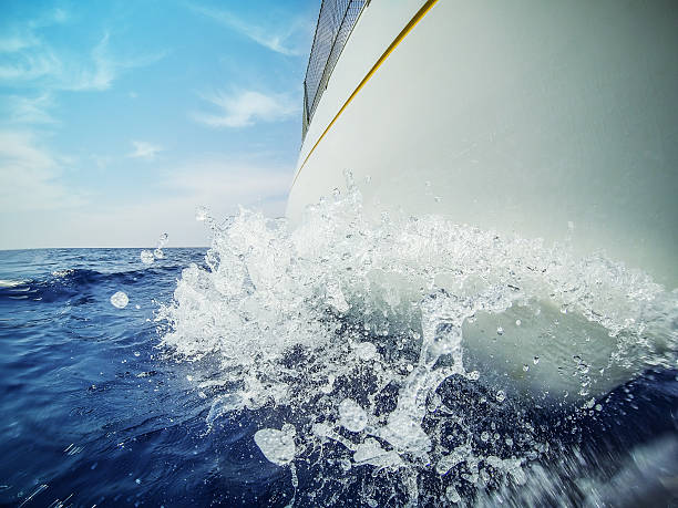 sailing boat bow during cruise - hull stock pictures, royalty-free photos & images