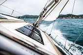 Sailing Boat Deck on Rough Sea