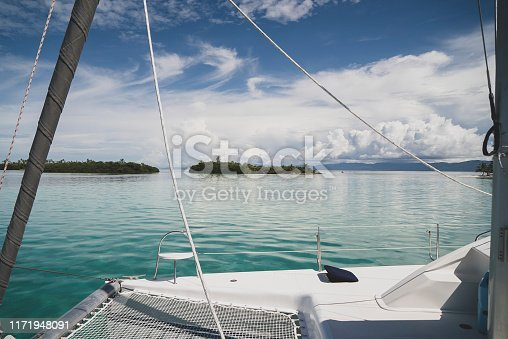 Journey under sails. Looking at turquoise sea