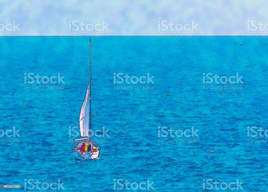 barco à vela, fluindo em mar aberto, aquarela pintada - Foto de stock de Abstrato royalty-free