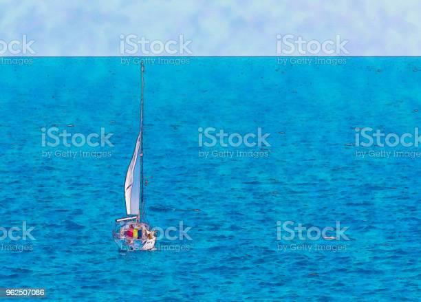 Foto de Barco À Vela Fluindo Em Mar Aberto Aquarela Pintada e mais fotos de stock de Abstrato