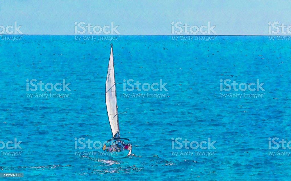 barco à vela, fluindo em mar aberto, aquarela pintada - Foto de stock de Arte royalty-free