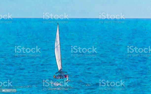 Foto de Barco À Vela Fluindo Em Mar Aberto Aquarela Pintada e mais fotos de stock de Arte