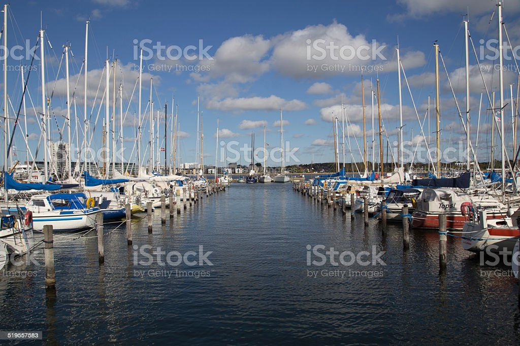 Sailing boat harbour Aalborg stock photo