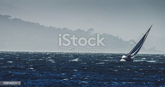 Sailing boat and the Golden Gate Bridge in San Francisco