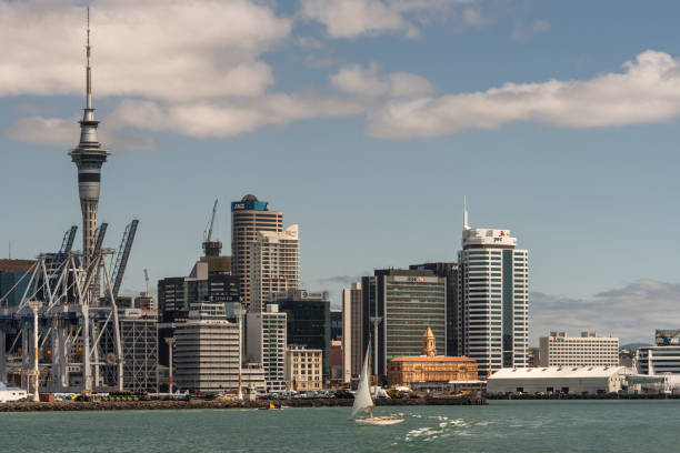 Sailing boat in front of Ferry Termimal and Auckland skyline. stock photo