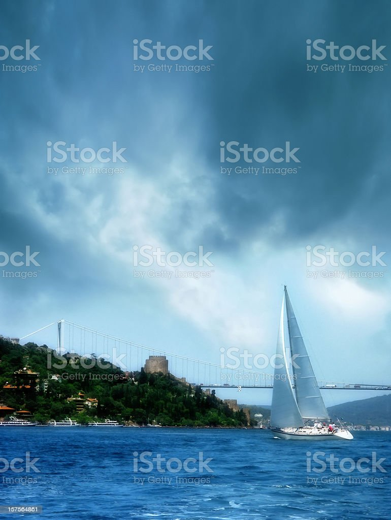 sailing boat in istanbul stock photo