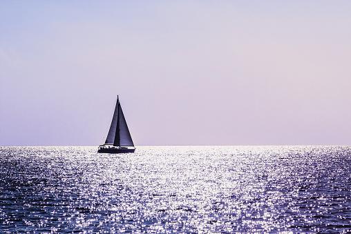 Sailing boat in Mediterranean sea