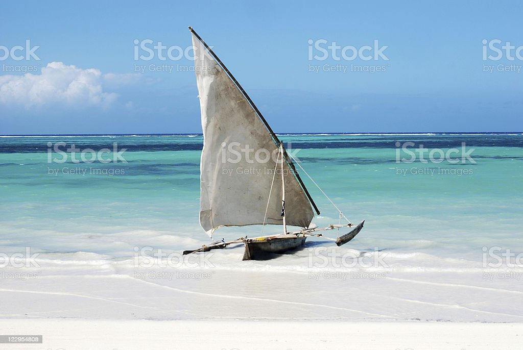 Sailing boat in paradise stock photo