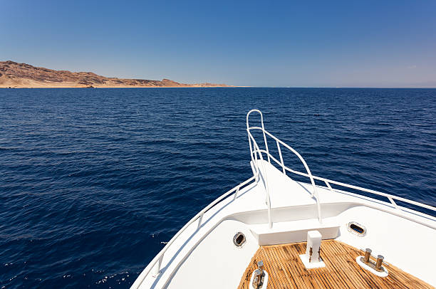 sailing boat in red sea - yacht front view stock photos and pictures
