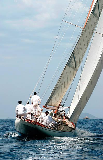Sailing boat in the gulf of Ajaccio stock photo