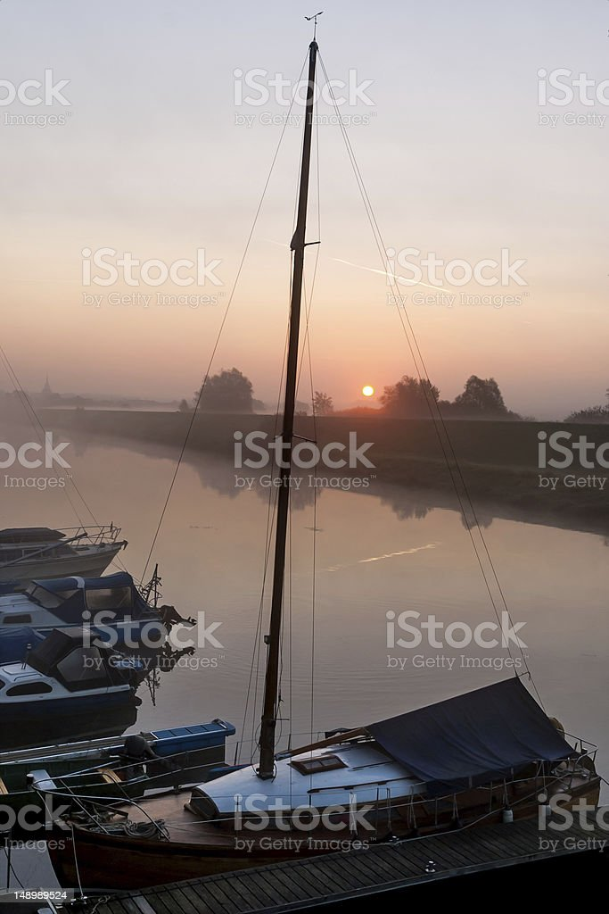 Sailing Boat in the Morning stock photo