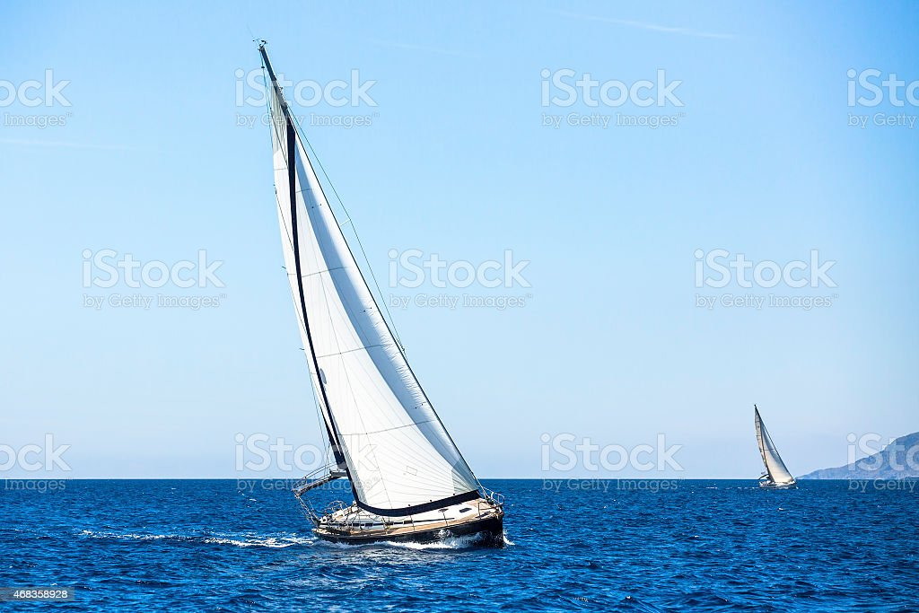 Sailing boat in the sea. Luxury Yachts. royalty-free stock photo