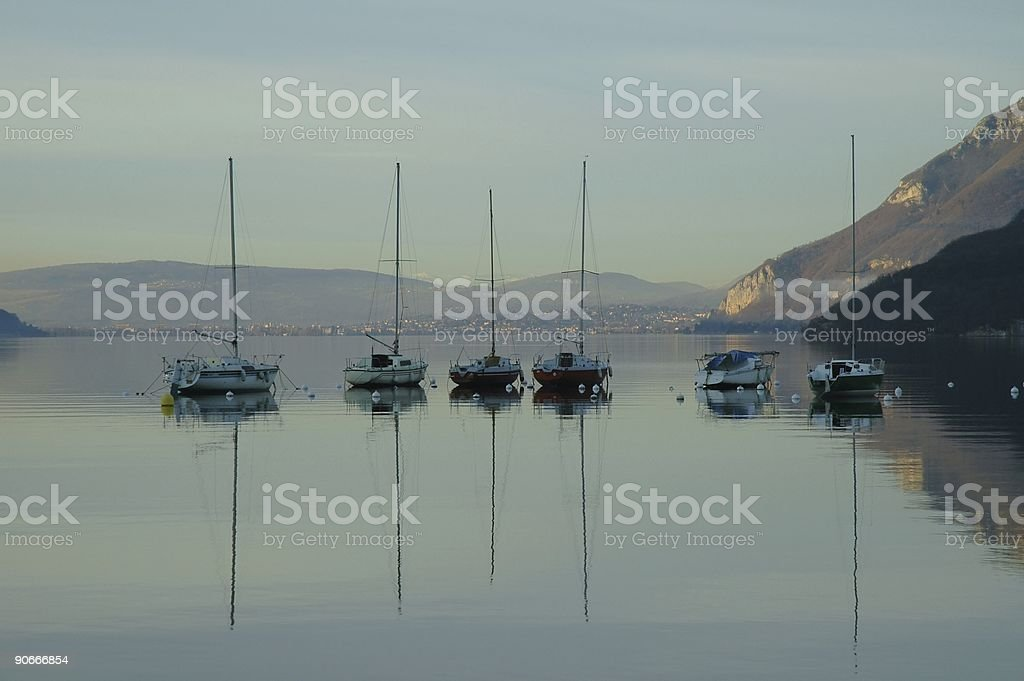 Sailing boat in the shadow 1 royalty-free stock photo