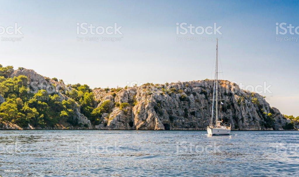 Sailing boat in the Sibenik bay stock photo
