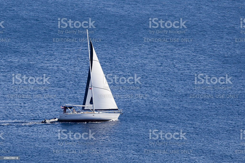 Sailing boat Move Away From Bodrum royalty-free stock photo