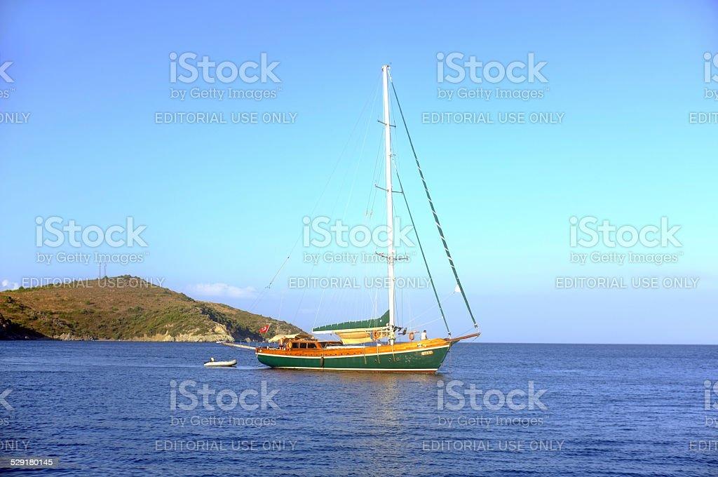 Sailing boat moving stock photo