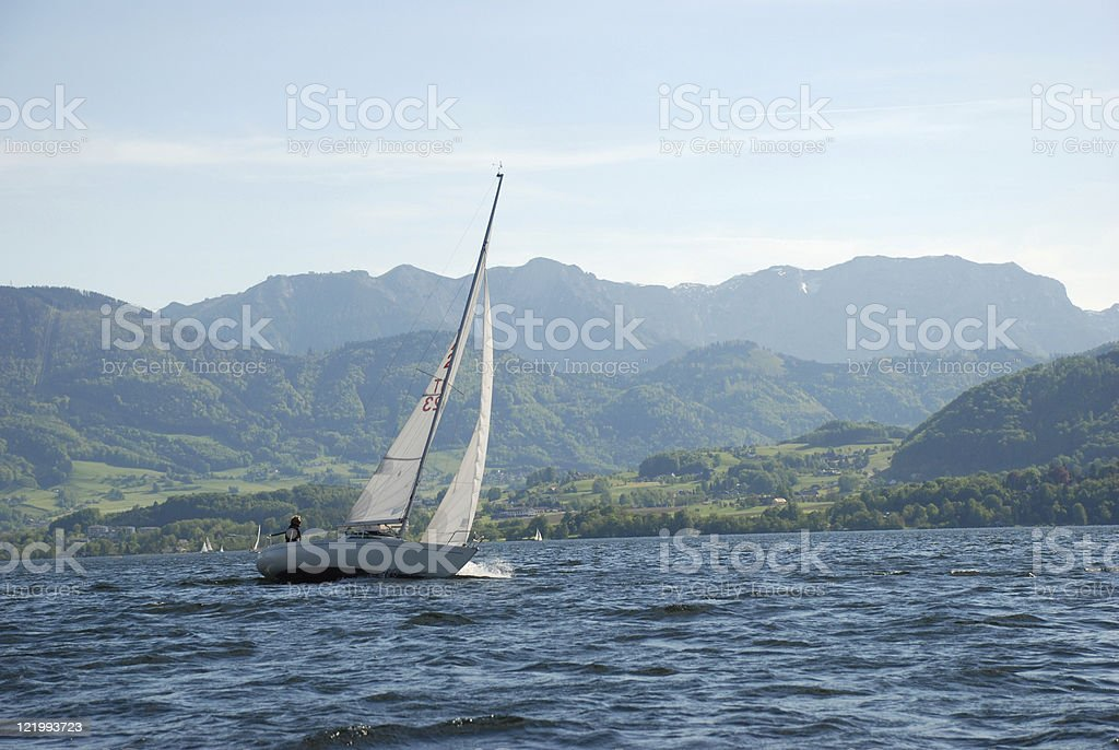 sailing boat on lake traunsee stock photo