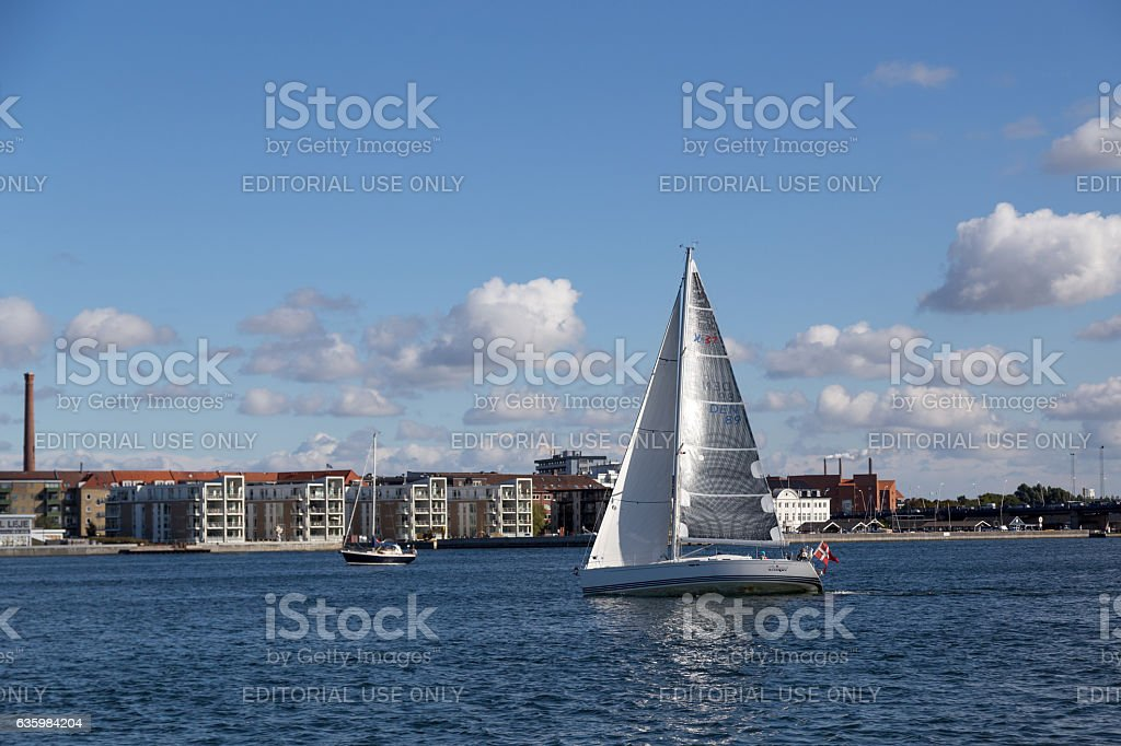 Sailing boat on Limfjord in Aalborg stock photo