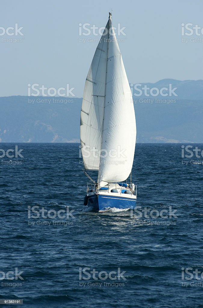sailing boat on the sea royalty-free stock photo