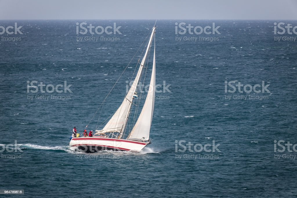 Sailing boat on the stormy Adriatic Sea at Istria in Croatia. royalty-free stock photo
