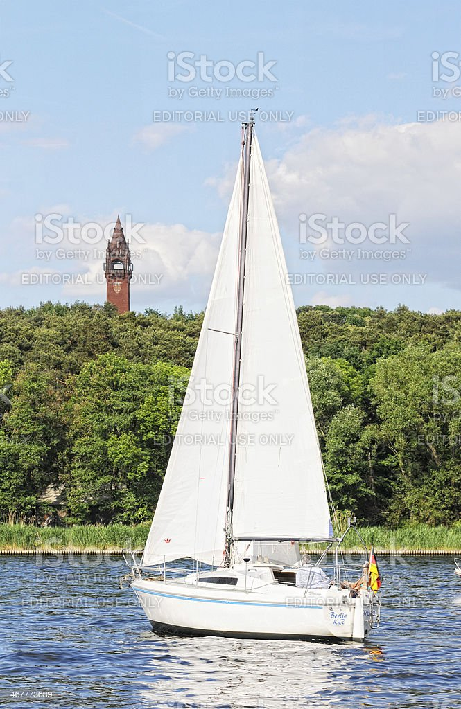 Sailing boat on Wannsee and Grunewald Tower (Berlin - Germany) royalty-free stock photo