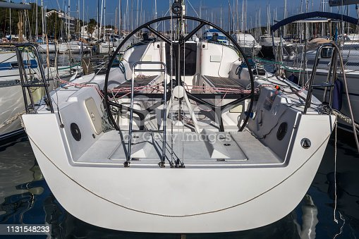 helm station on sailing boat in the dock