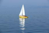 Sailing boat alone on the lake constanze.