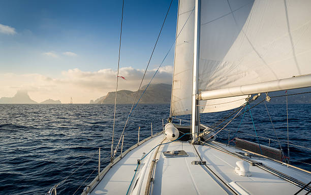 sailing boat - yacht front view stock photos and pictures