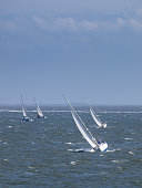 Sailing boat race under stormy conditions
