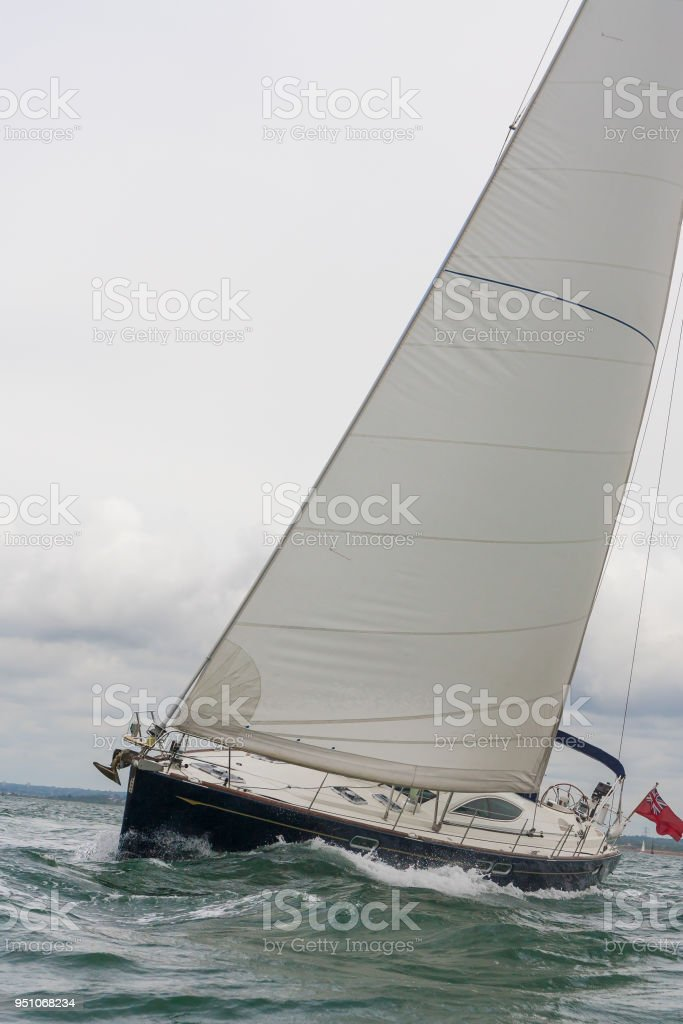 Sailing Boat Sail Boat Or Yacht At Sea On A Stormy Day Stock