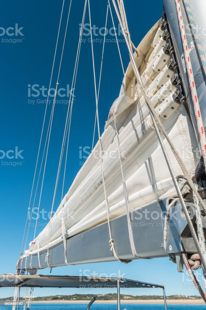 Sailing boat wide angle view in the sea - Royalty-free Beach Stock Photo
