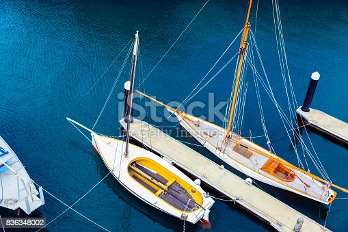 istock Sailing boats at marina, high angle view, background, copy space 836348002