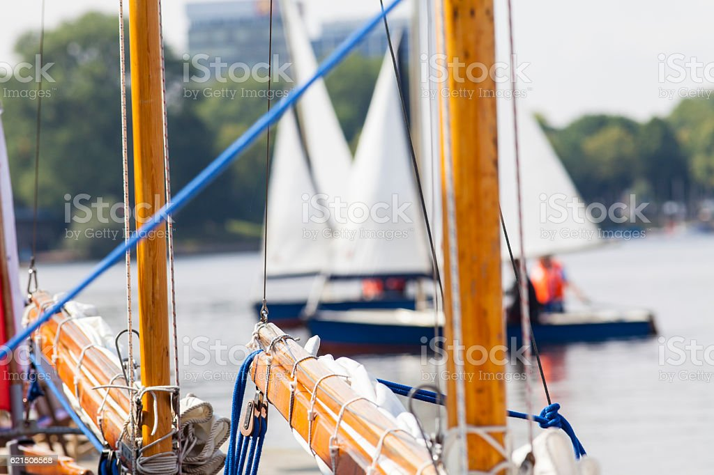 Barche a vela a Amburgo foto stock royalty-free