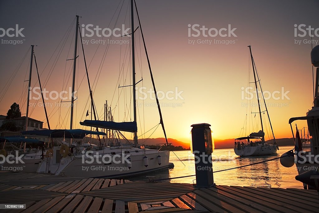 Sailing boats in Poros harbour royalty-free stock photo