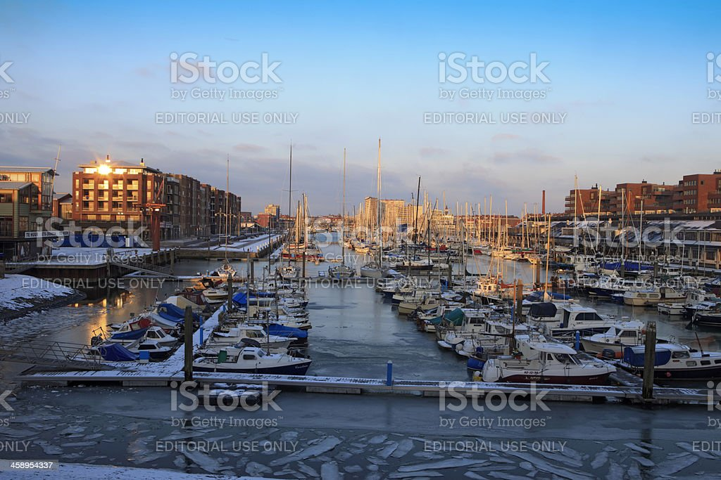 sailing boats in the marina of Scheveningen stock photo