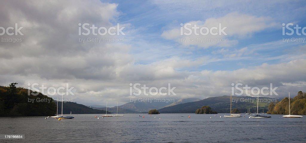 Sailing boats on Lake Windermere royalty-free stock photo