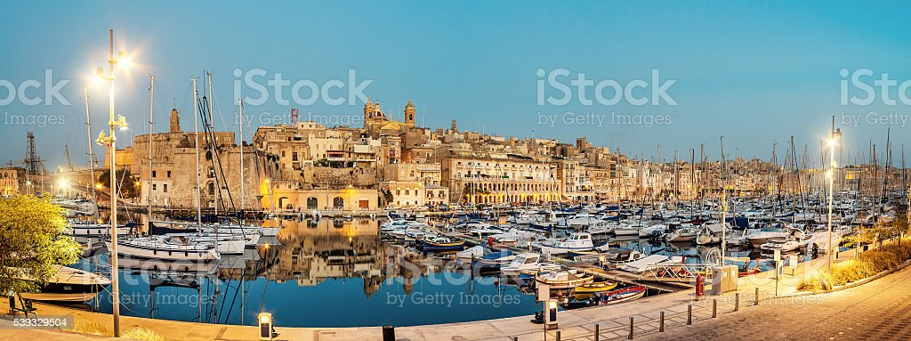 Sailing boats on Senglea marina, Valetta, Malta stock photo