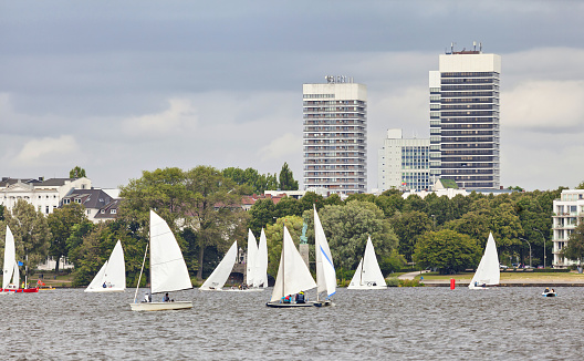Sailing boats on the Outer Alster lake (Aussenalster) in Hamburg